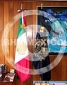 Bandera de México y de la UNAM bordadas en hilo metálico